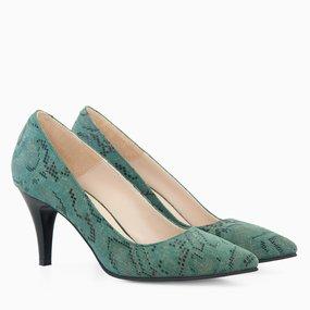 Stiletto cu toc comod din piele naturala verde Frida