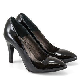 Pantofi dama Stiletto negri din piele naturala lacuita Ellie