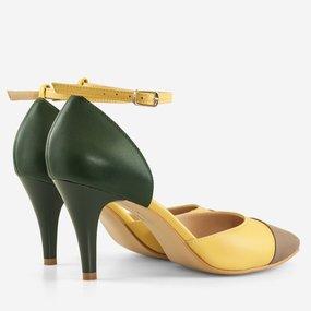 Stiletto din piele naturala verde cu galben Letizia