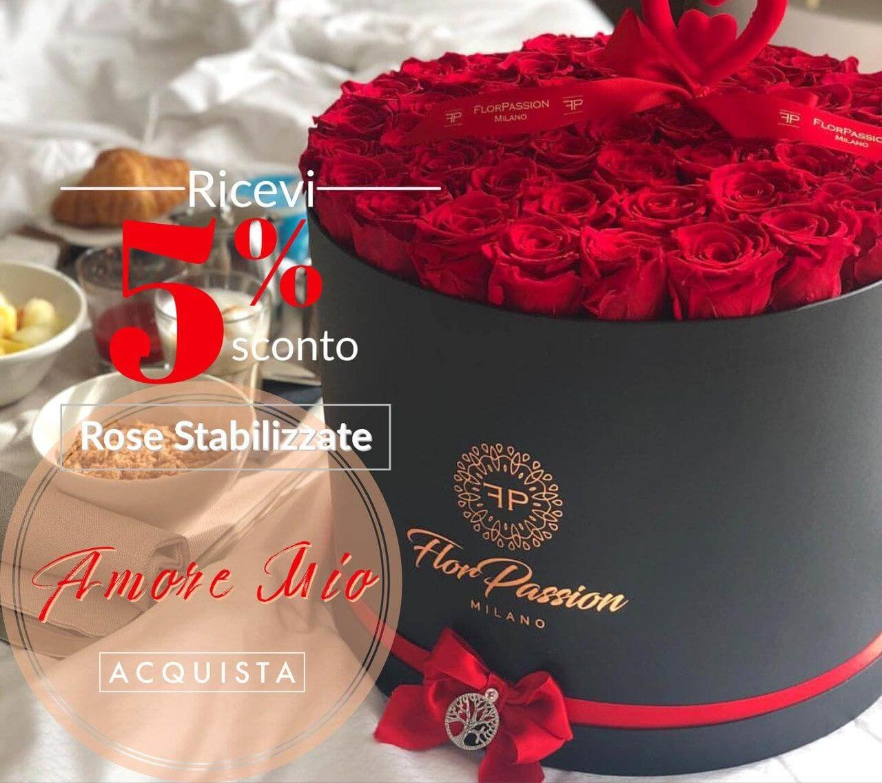 Amore Mio Box Rose Rosse Stabilizzate