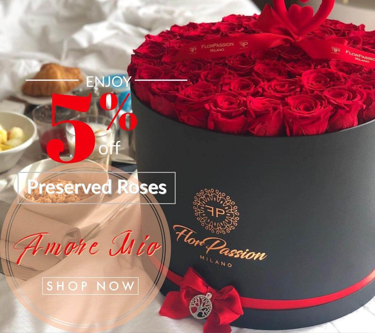 Preserved Red Roses Box Same Day Delivery Milan