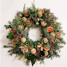 Sustainable Christmas Wreath Natural Foliage and Citrus | FlorPassion Milano