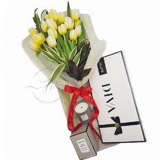 Scatola Regalo FlorPassion | Bouquet Tulipani Lindt Candela