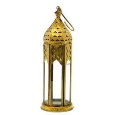Gold metal / glass lantern, H22CM