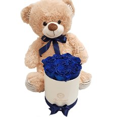 Birthday Gift | Preserved Rose Box Teddy Bear | Italy Florist FlorPassion