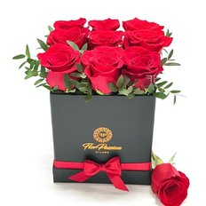 Red Roses Box Valentines Day | FlorPassion Luxury Milan Florist | Free Flowers Delivery