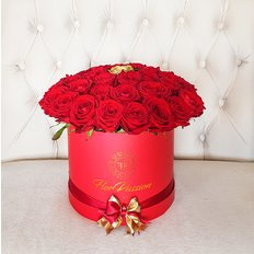 Red Roses Box Luxury Florist in Milan | Free Flowers Delivery