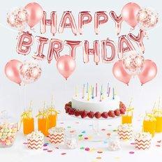 Palloncini Oro Rosa Buon Compleanno