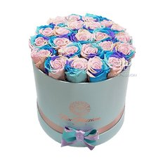 Preserved Rose Box Tiffany Rainbow | Forever Roses Milan | Flower Delivery