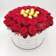 Red Roses & Chocolate Million Flowers Box | Milan Florist