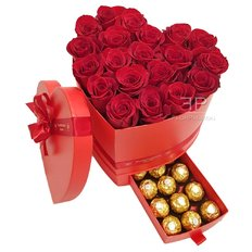 Red Roses Heart Box Ferrero Rocher | Valentine's Day Gift Milan