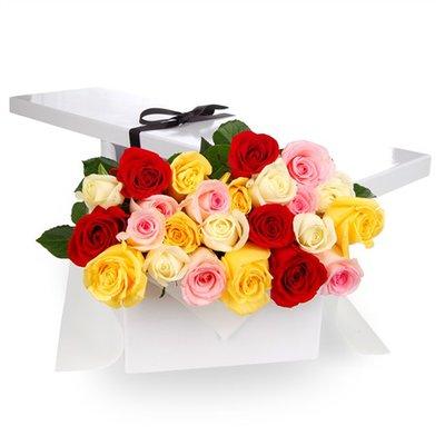 Ventiquattro Rose Multicolore in Scatola Regalo