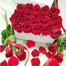 Ventiquattro Rose Rosse in Scatola Regalo