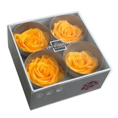 Yellow Preserved Premium Roses, 4pcs