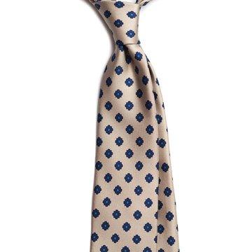 Floral silk tie - Beige