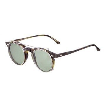 PLEAT GREEN TORTOISE FRAME - GREEN LENSES
