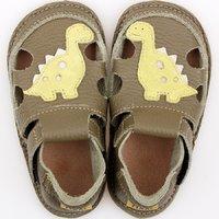Barefoot kids sandals - Green Dino