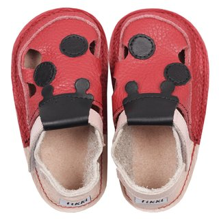 Barefoot kids sandals - Red ladybug