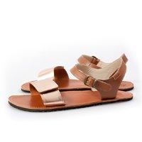 Sandale cu baretă ajustabilă - Nude & Brown - în stoc